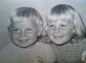 Libby, age four, on left and me, age five.